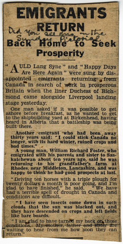 News clipping, Emigrants return back home to seek prosperity - between 1926 and 1936