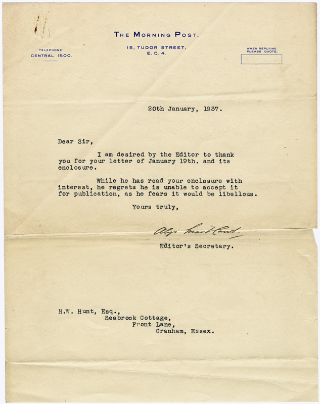 Rejection letter - 20 January 1937