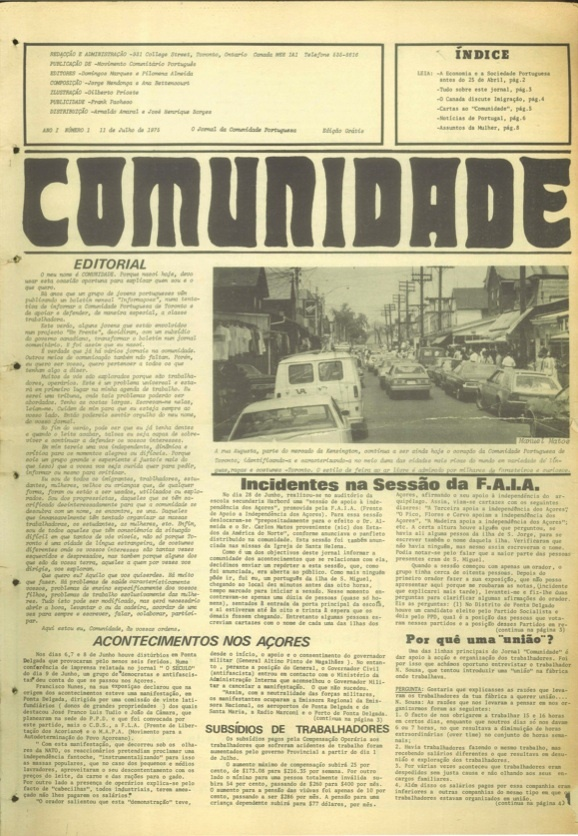 Front cover of the first issue of Comunidade