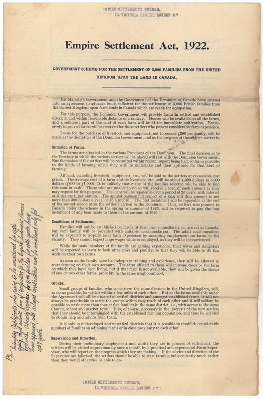 Empire settlement act - 1922
