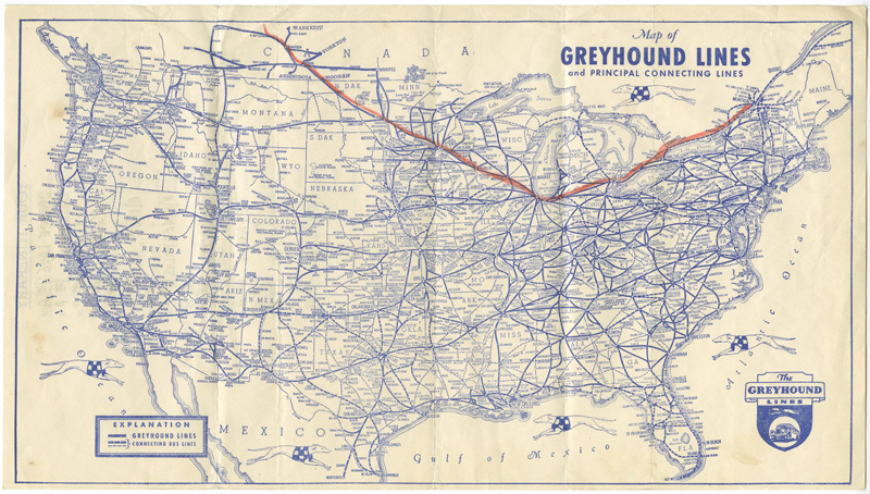 Greyhound map of the United States - ca. 1936