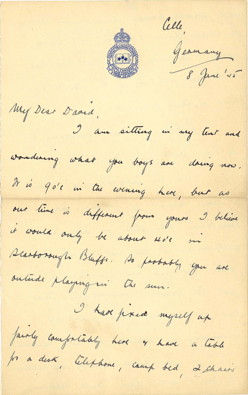 Letter written by Ted Aplin to son David, 8 June 1945