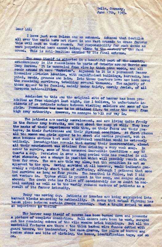 Letter written by Ted Aplin to Lilian Sandler, a family friend, regarding conditions in the camp, 17 June 1945.