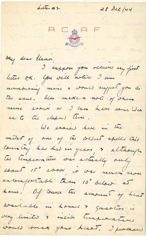 Letter written by Ted Aplin to wife Elinor, 28 December 1944.