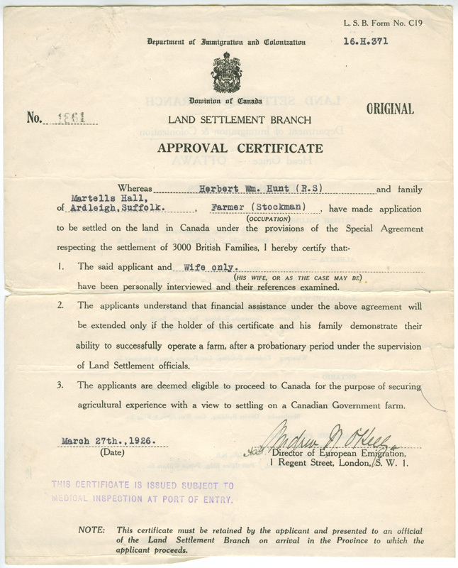 Approval certificate - 27 March 1926