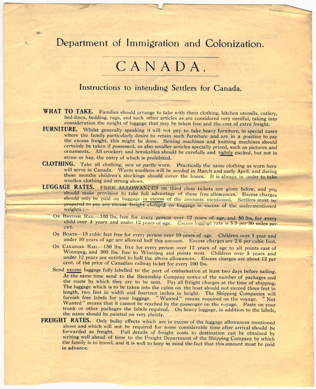 Instructions to intending settlers for Canada - ca. 1926