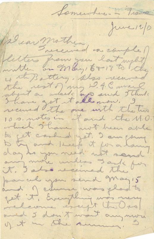 Letter from Gordon Stepler to his mother, 12 June 1917