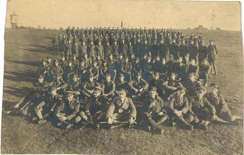 Group portrait of 4th Battery, Canadian Field Artillery, stationed in Germany, Christmas 1918