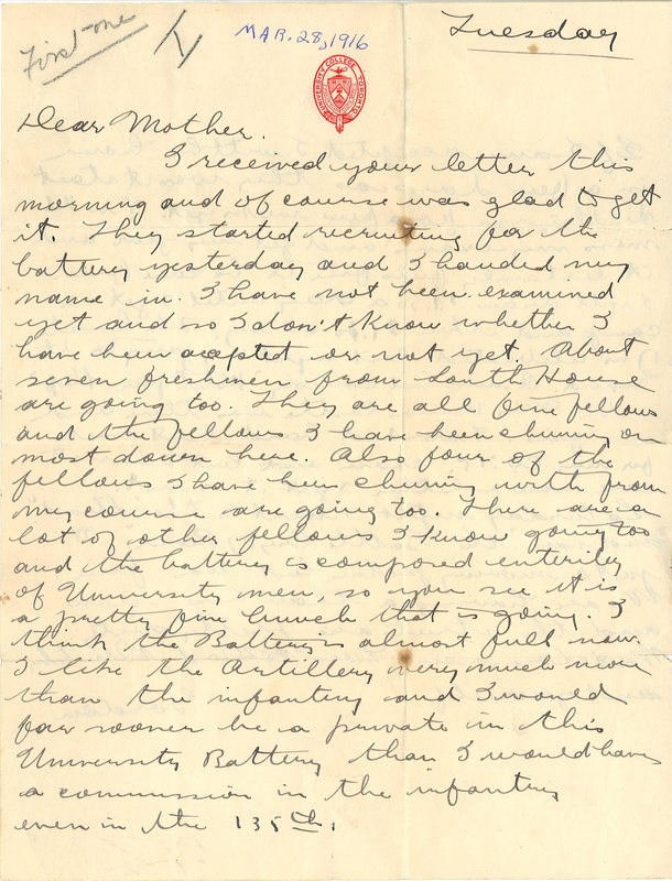 Letter sent by Gordon Stepler to his mother, March 28, 1916