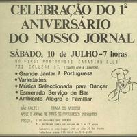 Public invitation to Comunidade's first year anniversary