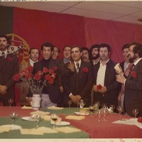 Portuguese revolutionary supporters sing together