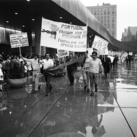 PCDA members demostrate in front of Toronto City Hall