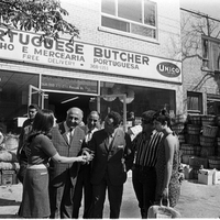 Johnny Lombardi and others in front of Portuguese Butcher (271-273 Augusta Ave)
