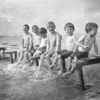 Children playing on a dock at Scugog summer camp