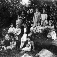 Children posing in the woods at Scugog summer camp