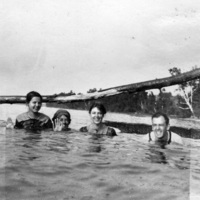 Young adults bathing in Lake Scugog