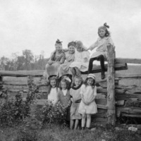 Girls posing on wooden fence at Scugog summer camp