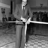 John Sewell cutting inaugural ribbon at St. Christopher House Older Adult Centre, 761 Queen St. West