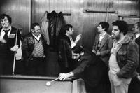 Portuguese men at play in Tivoli Billiards