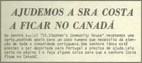 """Anti-deportation campaign: """"Ajudemos a Sra Costa a ficar no Canadá"""""""